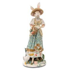 Figura Królica z z koszem kwiatów Lady Bunny Fitz and Floyd Goebel